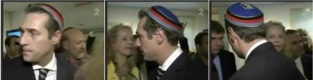 """Strache in der Gedenkstätte Yad Vashem mit der """"Biertonne der Burschenschaft """"Vandalia"""""""