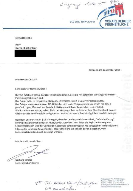 Parteiausschluss FPÖ Bregenz 29.9.2015